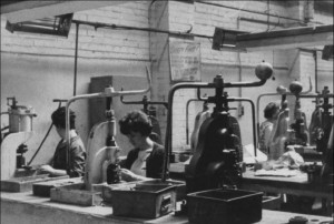 Welsh Women on the Factory Floor: The inside of the Compact Factory, with women at work, 1950s