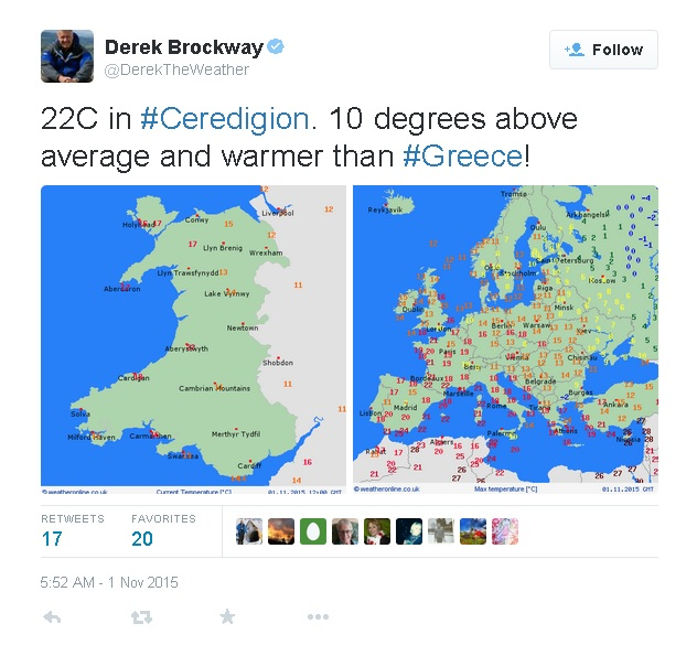 Record-breaking: BBC's Derek Brockway in west Wales tweet