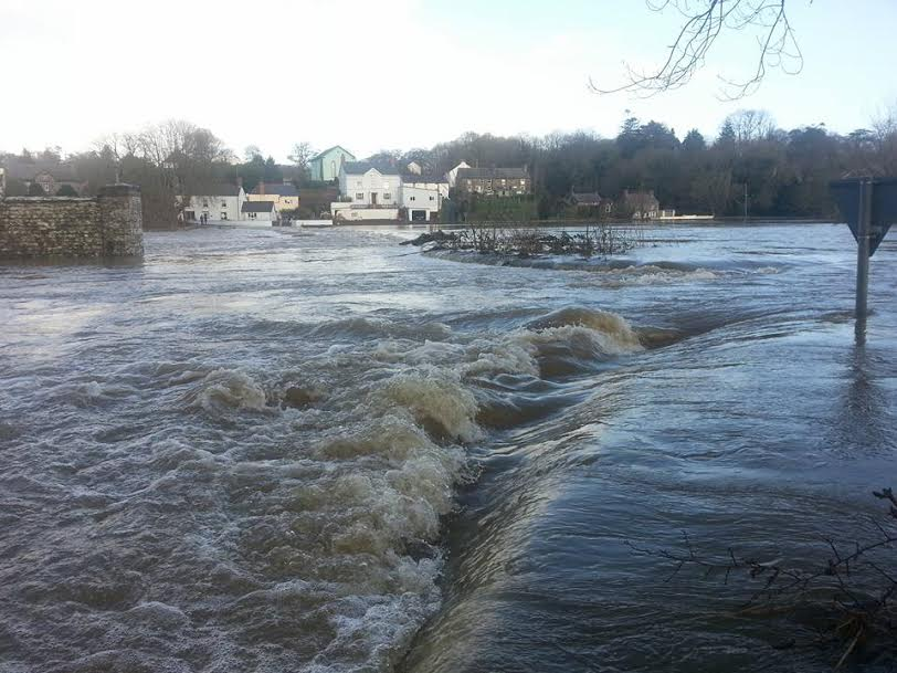 Llechryd Bridge: Water covers the bridge entirely