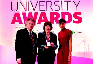 At the awards ceremony: UWTSD Vice Chancellor Professor Medwin Hughes and Jane Davidson
