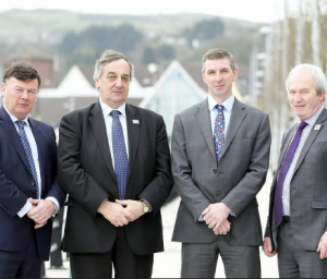 Summit meeting: Stephen James (r) meets with Meurig Raymond, Ian Marshall & Allan Bowie