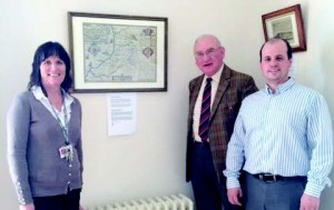 Unveiling the maps: County Councillor Lloyd, Cadwgan Trustee Cllr Gareth Lloyd and Castle Facilities Officer Sue Lewis.