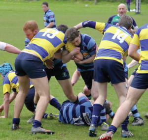 Breakdown: Aber and Mumbles tussle at the ruck
