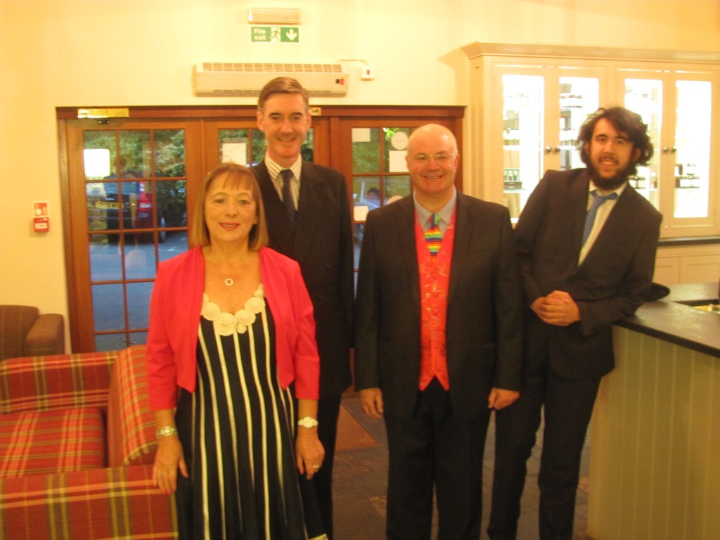 Left to right: Mary Davies, Jacob Rees-Mogg MP, Dr Felix Aubel and Harry Alliss.