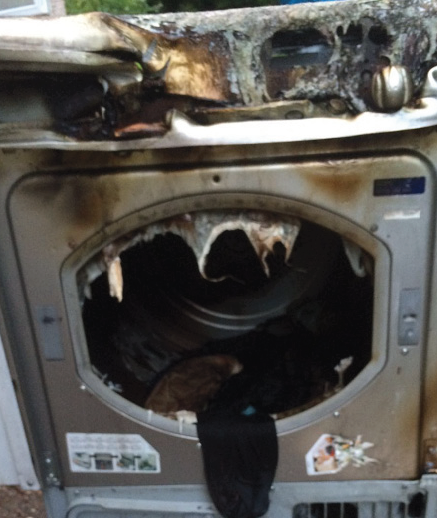 Safety message: This is what fire can do to a tumble dryer