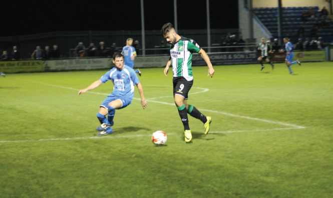 Dumped out: Blake Davies fired over for Aber as they failed to find the net