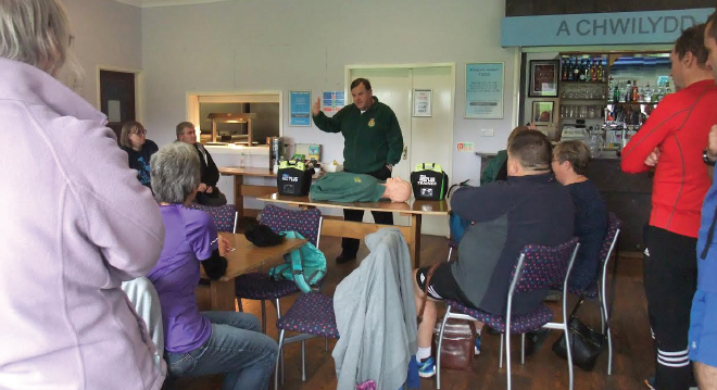 Gerard Rothwell: Demonstrating the defibrillator at the training session