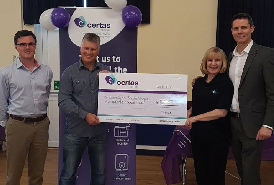 League Secretary Adrian Williams receiving a £500 sponsorship cheque from Ann Davies, Sales Negotiator for Certas Energy: With Bedwyr Davies, Secretary of Llandysul Snooker Club, and Certas Energy's Regional Manager, Andrew Cooper