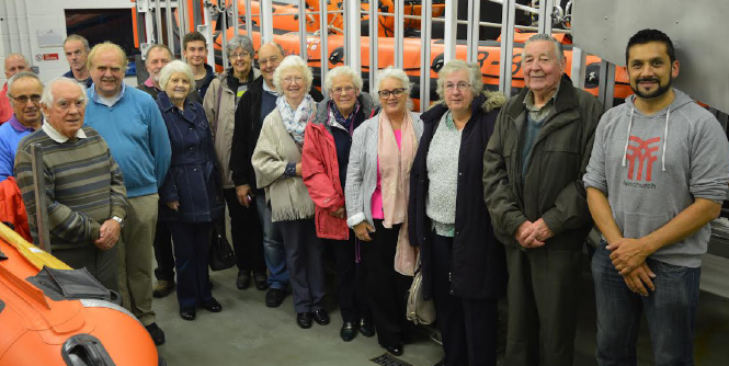 Members of Cardigan Moose Lodge: Enjoying a visit to Cardigan RNLI Station