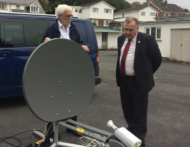 Mark Williams: Attending a satellite broadband demonstration in Lampeter