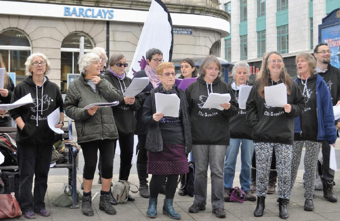 Singing at the Aberystwyth protest: Côr Gobaith