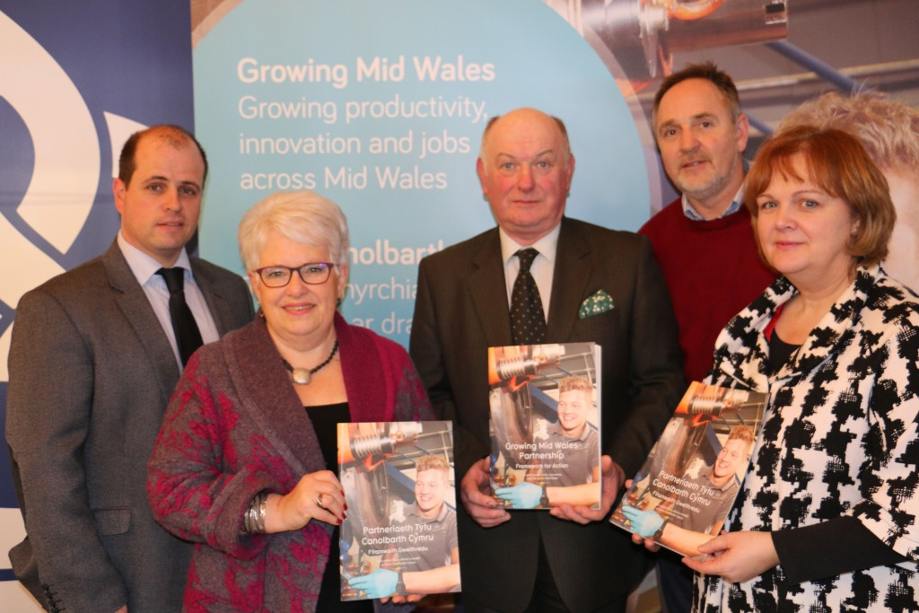 Councillor Gareth Lloyd - Ceredigion County Council Cabinet Member for Community and Economic Development Services, Councillor Ellen ap Gwynn - Ceredigion County Council Leader and Vice Chair of Growing Mid Wales, Councillor Barry Thomas – Leader of Powys County Council and Chairman of Growing Mid Wales, Arwyn Watkins - representing the Regional Learning and Skills Partnership, and Ann Watkin - Welsh Government.