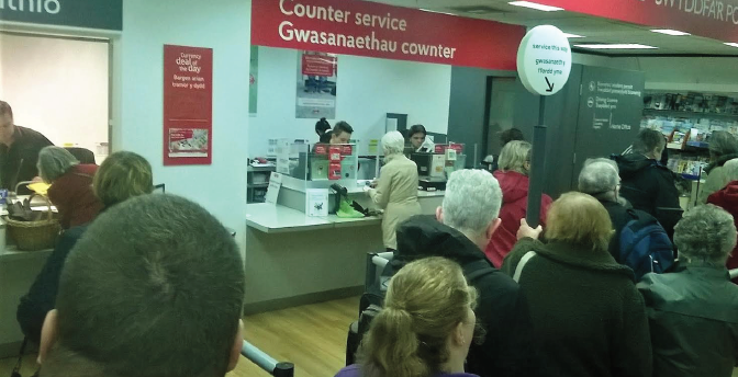 A disgruntled queue: In the Post Office in Aberystwyth's WHSmith (Pic. Nicki Wilkins)